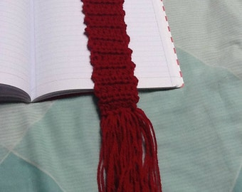 Red Bookmark, Wool Page Marker, Tassel Page Marker, Red Page Marker, Tassel Bookmark, Yarn Page Marker, Yarn Bookmark, Wool Bookmark