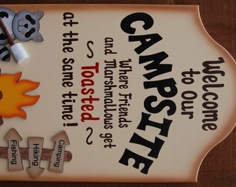 Funny Wood Camping Sign - Where Friends and Marshmallows Get Toasted at the Same Time