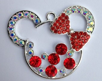 47mm Minnie Mouse Rhinestone Pendant Chunky Necklace Beads