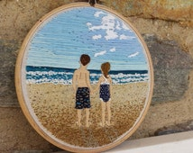 Hand Embroidery. Portrait. Landscape. Impressionism. Embroidered Portrait. Photo Embroidery. Custom. Wall Art. Hoop Art. Embroidery Hoop.