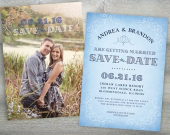 Vintage Blue Save the Date - Invitation Template - INSTANT DOWNLOAD