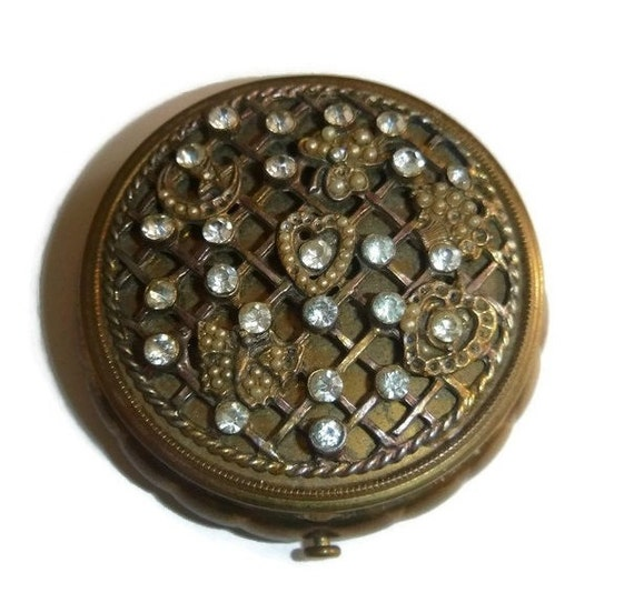 Vintage 30's Rhinestone Compact Spring Romance Shamrock Butterfly Art Nouveau Vanity Case Deco Trinket Box Jewelry Box Brass Makeup Compact