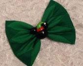 Santa's Helper Minnie Mouse on Green Diamond Christmas Fabric Hair Bow Gift Accessory