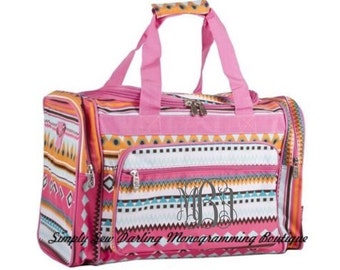 Personalized Monogrammed Pink Tribal Aztec Tribal Duffle Bag