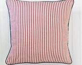 Nautical Red Ticking Navy Piping Pillow Cover - Patriotic Red White Blue - 16 x 16 Throw Pillow Cover