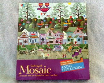Vintage Charles Wysocki Mosaic  Puzzle 300 Pieces Confection Street Milton Bradley 4290-3 AMCAL Sealed from 1978  B26