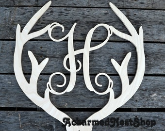 Deer Antler Monogram- Holiday Wooden Monogram Letter- Interlocking Script, Door Hanger Wreath- for Christmas, rustic cabin decor