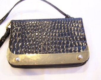 Black Crown Lewis alligator-style vintage purse with brass trim