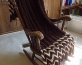 Coffee Color Afghan/Throw, For Bed or Chair, Hand Crochet, Machine Care, Free Ship