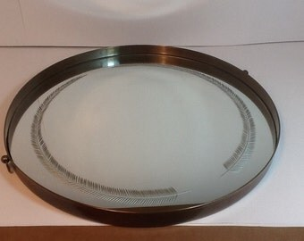 Vintage Mirror Tray,TRAY,Mirror,Metal Mirror,Etched Feather Mirror,India Tray,Ornate Tray,