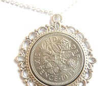 1956 Birthday Gift, Lucky Sixpence Necklace, 1956 Jewelry Gift, 60th Birthday Gift, 60th Birthday Ideas, 60th birthday gifts for women