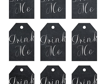 printable drink me tags, chalkboard drink me tags, digital drink me tags, digital drink me tags, chalkboard favor tags, cu ok with licence