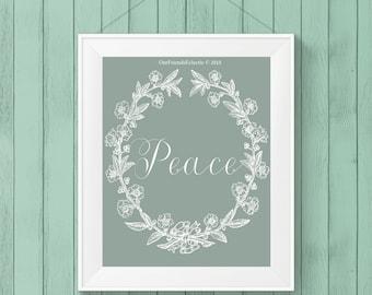 printable peace sign,  digital artwork, digital peace sign, printable wall art,  inspiring wall art, 8 x 10