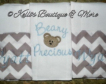 Set of 3 Personalized Gray and White Chevron burp cloths/Monogrammed Burp Cloths/Baby Shower Gifts/For The Baby