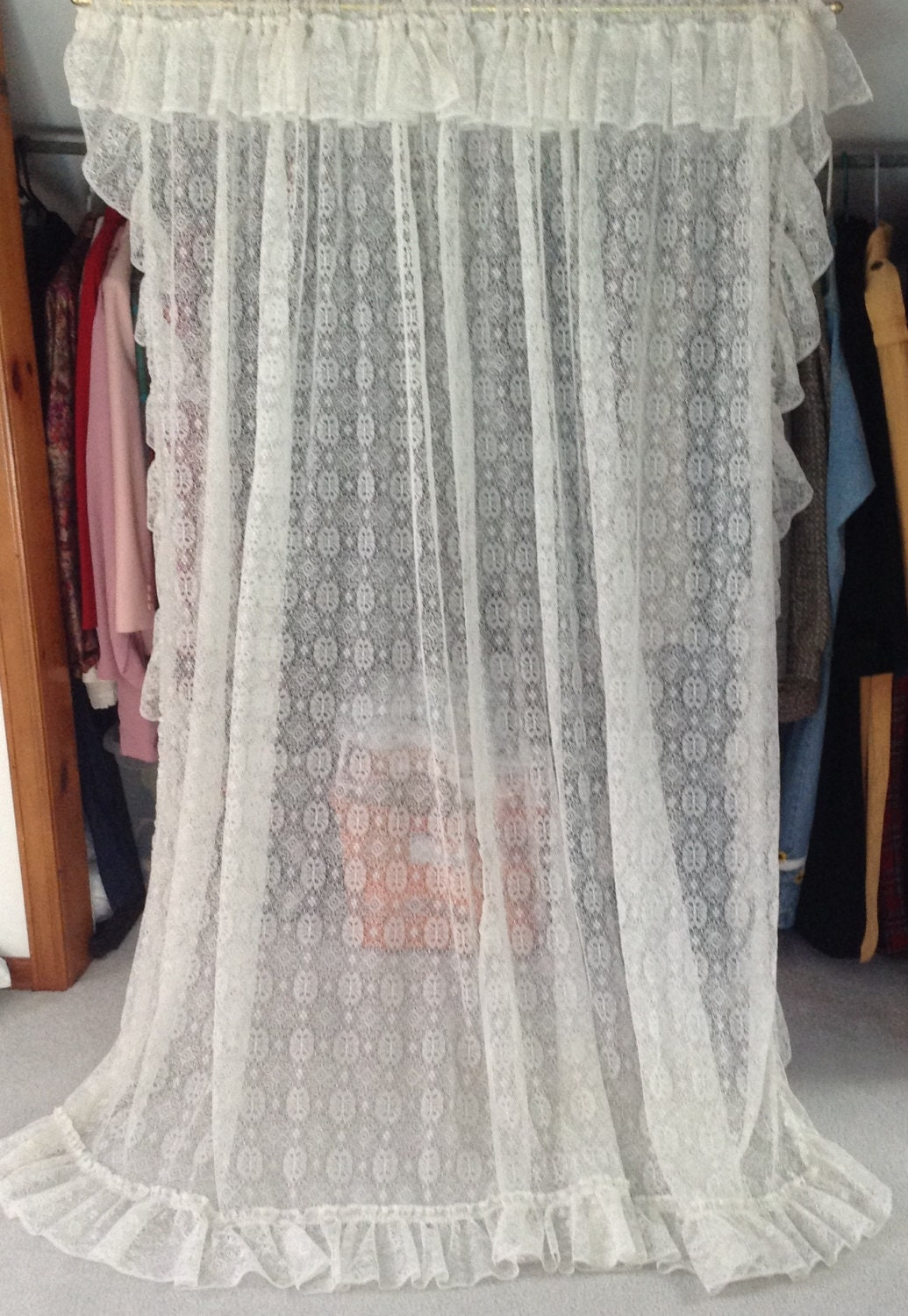 Long Lace Ruffled Curtain Panels 2 Panels For One Window 76