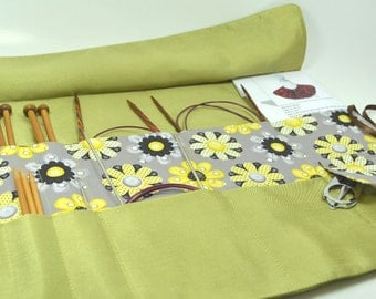 Knitting Needle Case - Travel - Holds needles and patterns - Your choice of fabrics