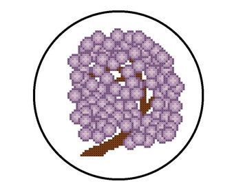 Counted Cross Stitch Pattern PDF - Purple Flowers on Tree Branch - Cross Stitch Pattern Instant Download