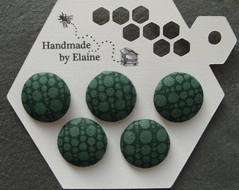 Fabric Covered Buttons - 5 x 22mm buttons, handmade button, dark green buttons, bottle green buttons, polka dot buttons, retro buttons 0717