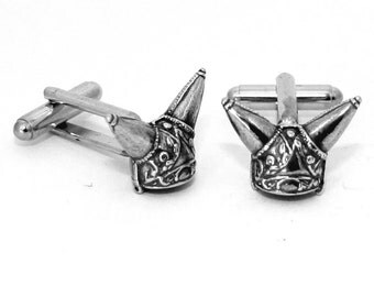 Celtic Helmet Cufflinks by Hoardersworld, Handmade, Horned Helmet (wa)