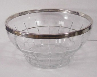 Vintage Silver Rimmed Cut Glass Salad Bowl