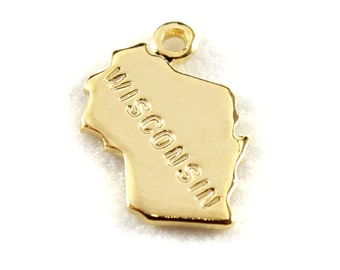 2x Gold Plated Engraved Wisconsin State Charms - M114-WI