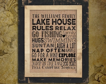 Burlap Print | Personalized | Lake House Rules | Family Name | swimming | #0081