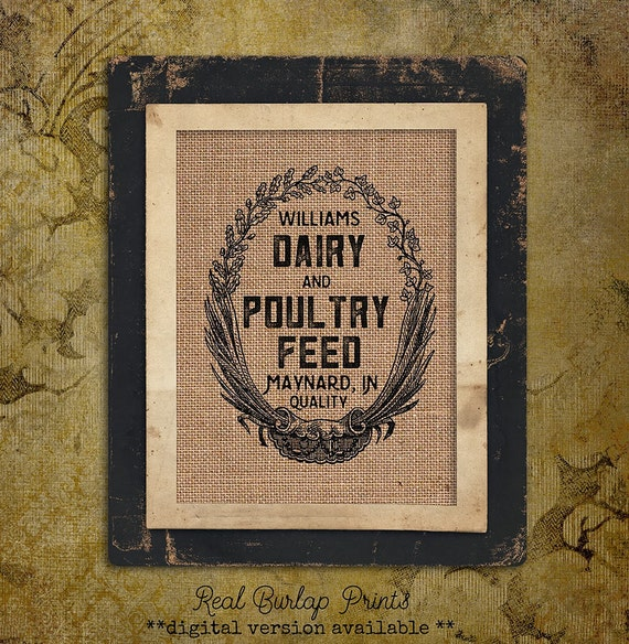 Burlap Print | Personalized | Feed Sack | Dairy Poultry Feed |#0002