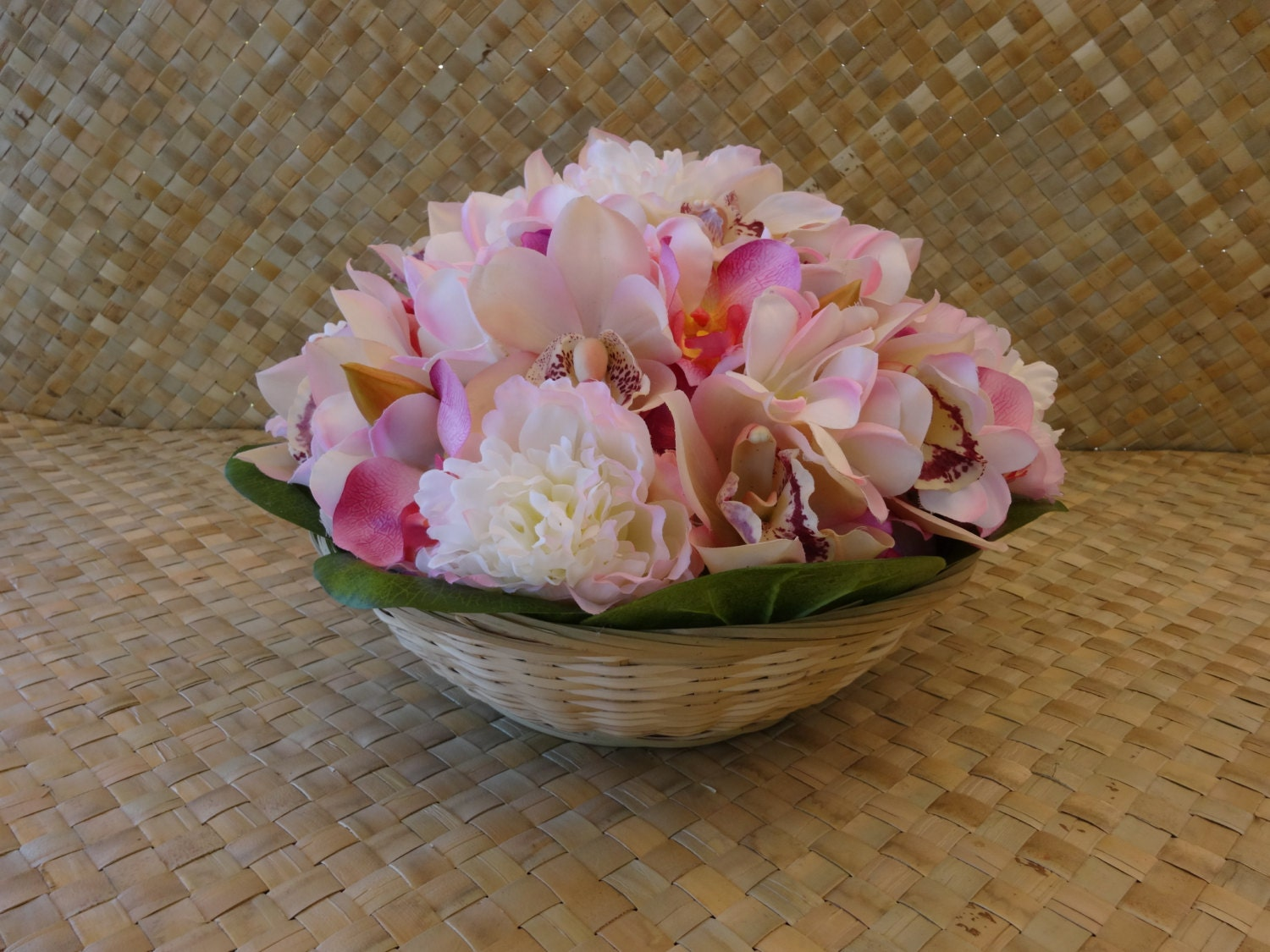 Tropical silk floral centerpiece peony and orchid