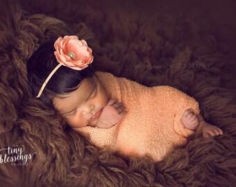 Petite Delaney, Peach Headband, Peach Flower Headband, Baby Girl Headband, Baby Headband, Photo Prop, Newborn Prop, Baby Girl Photo Prop