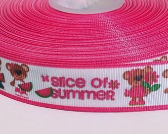 "5 yards of 7/8 inch ""Slice of summer"" grosgrain ribbon"