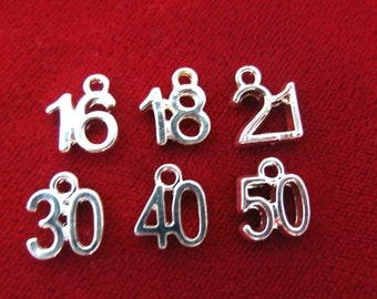 """12pc """"numbers"""" charms in silver style (BC462)"""