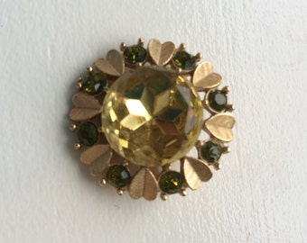 Vintage Avon Citrine and Peridot Colored Rhinestone Circular Brooch