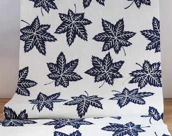 Vintage Cotton Momiji Maple  Indigo and White Yukata Fabric  (1 meter)
