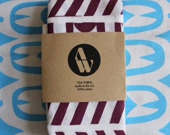 Screen-printed Geometric Tea Towel - Burgundy