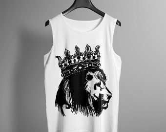 Mens Crowned Lion Tank - Hand Drawn Graphic Tank - Graphic Tee- Graphic Tank Top - Occult Shirt