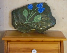Hand Painted Rock, Handpainted stone, Home Decor, Outdoor Decor, Garden Decoration, Green Rock with Blue Lupin Flowers 100% goes to Charity