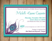 """Peacock Bridal Shower Invitation Template - Wedding Shower Template """"Peacock Feather"""" Purple Turquoise Teal Shower 4 x 6 Invitation Download"""
