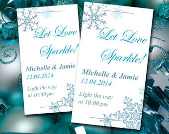 "Wedding Sparkler Tag Template Download   ""Let Love Sparkle"" Winter Wonderland Snowflakes Blue Wedding   DIY Wedding Template Wedding Favor"