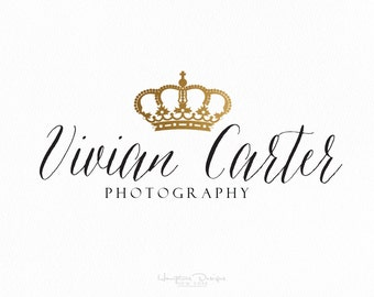 Gold Crown princess Queen Photography photographer handwriting font Logo watermark pre made design