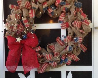 """20"""" Patriotic Burlap Wreath Custom-made Red White Blue"""