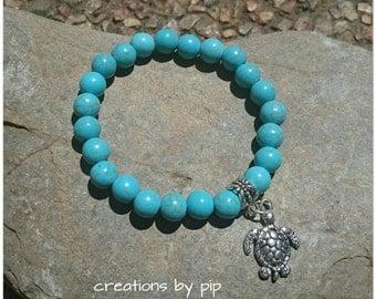 Turquoise Turtle Charm Bracelet