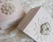 ON SALE - Ring Bearer Box - Petite White Washed Wooden Jewelry Box - Ring Bearer's Box