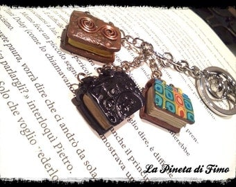 Keychain handmade with three miniature books