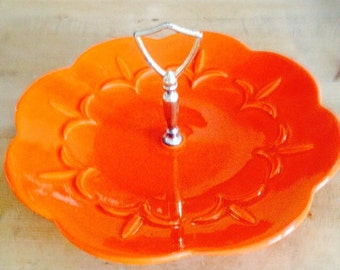 orange mid century serving dish with handle