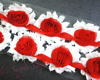 Red & White Shabby Trim - Shabby Rose Trim - Chiffon Rosettes - Christmas Shabby Chiffon Flowers - Printed Shabby Trim - 1/2 Yard or 1 Yard