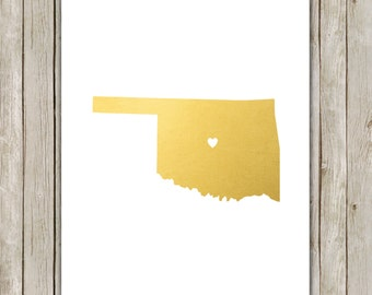 8x10 Oklahoma State Print, Geography Print, Metallic Gold Printable Art, Oklahoma Poster, Office Art, Home Decor, Instant Digital Download