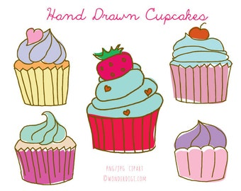Cupcake Clipart - Hand drawn Cupcakes Clipart - Cupcake Doodles