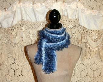 Handmade Knit Blue Scarf Eyelash Scarf Fuzzy Scarf Spring Scarf Teen Scarf Womens Scarf Hand Knit Accessories Free Shipping