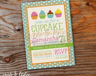 Decorate A Cupcake Birthday Digital Printable Invitation