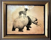 Boxer Dog Riding Panda - Vintage Collage Art Print on Tea Stained Paper - Vintage Art Print - Vintage Paper